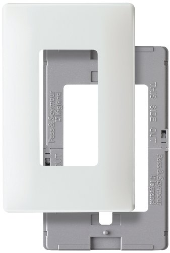 Pass & Seymour SWP26WBPCC10 Screw Less Wall Plate Plastic Sub Plate One Gang, White