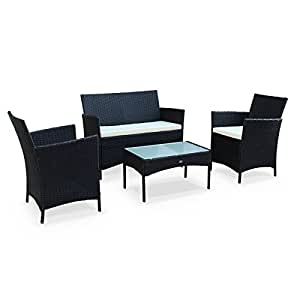 Alice's Garden - Salon de jardin en résine tressée - Moltès - Noir, Coussins ecru - 4 places - 1 canapé, 2 fauteuils, une table basse
