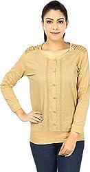 Yashasvi Women's Cotton Top (Beige, M)