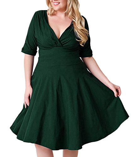 Nemidor Women's Vintage 1950s Style Sleeved Plus Size Swing Dress (24W, Green)