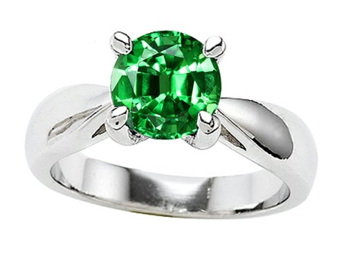 Star K 7Mm Round Simulated Emerald Engagement Ring Size 7