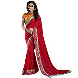 Shoponbit Hot Red Embroidery Lace Work Designer Saree