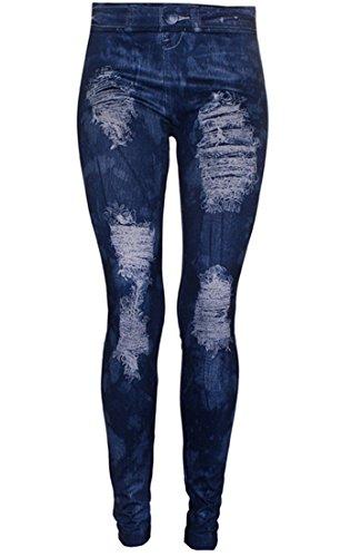 Ostenx Sexy JEANS-LOOK-LEGGINGS Jeggings Leggins JEANS-Destroyed-Look Hose Treggins (Blau F56)