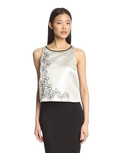 A.B.S. by Allen Schwartz Women's Metallic Top with Soutache Trim