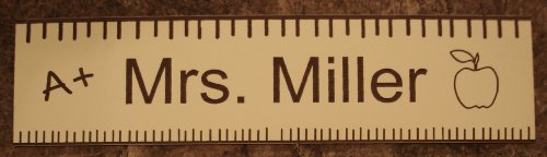 Teacher Office Desk Name Plate or Door Sign - Laser Engraved Signage Material - Great School Teacher Appreciation Gift! Cream