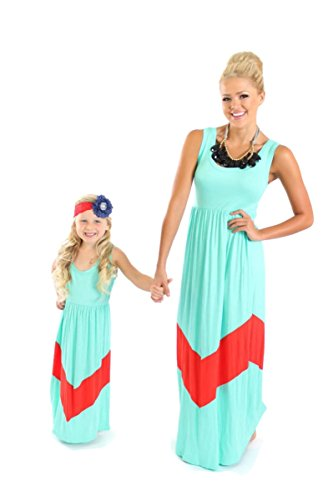 Kwc - Mother & Daughter Maxi Dress Match Set (Chevron Aqua & Pink) (Mother - S) back-960931