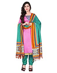 Lookslady Printed Magenta Silk Dress Material