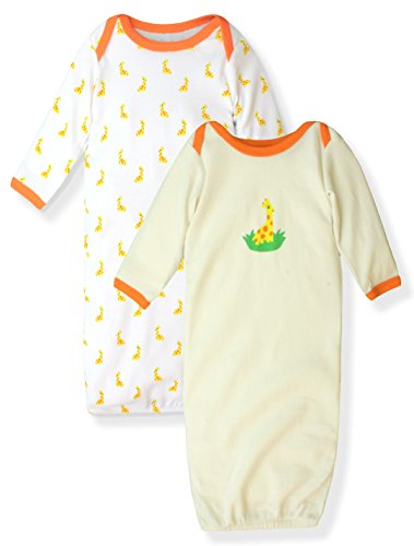 Maybe Baby Infant Boys' and Girls' 2 Pack Printed Gowns Elephant Giraffe 0-6 Months