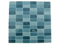 Aqua Mosaic Rectangle Glass Tile / 11 sq ft