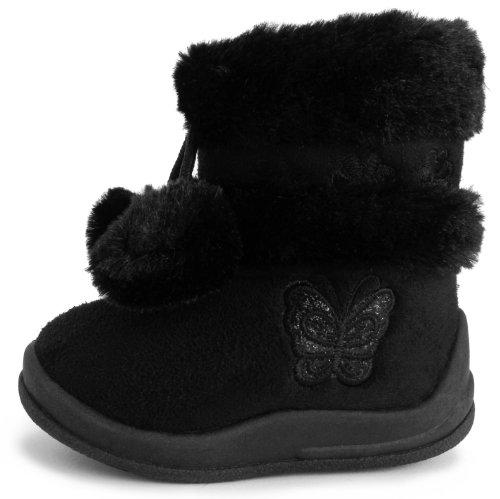 Kali Footwear Little Girl's Zello GlitterPom Pom Boots, Black 05