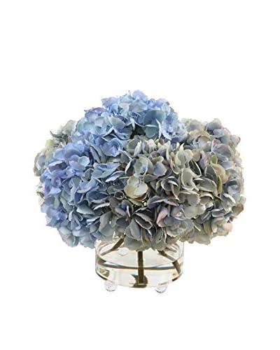 Winward Faux Hydrangea in Cylinder Glass, Light Blue/Green