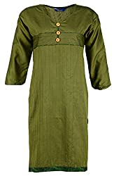 Fashion Web Women's Cotton Regular Fit Kurta (Green, X-Large)