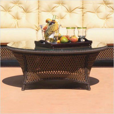 Grand Traverse Round Conversation Table with Woven Top Finish: Caramel