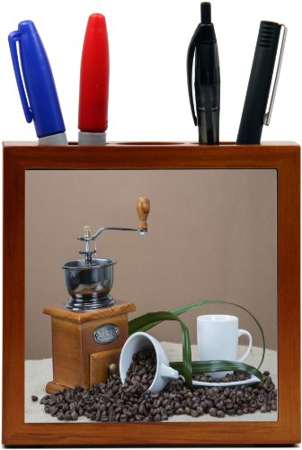 Rikki KnightTM Coffee Grinder And Cups On Some Bean Design 5 Inch Tile Wooden Tile Pen Holder