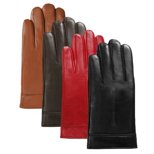 Luxury Lane Women's Cashmere Lined Lambskin Leather Gloves in Black, Chocolate, Tobacco, or Red