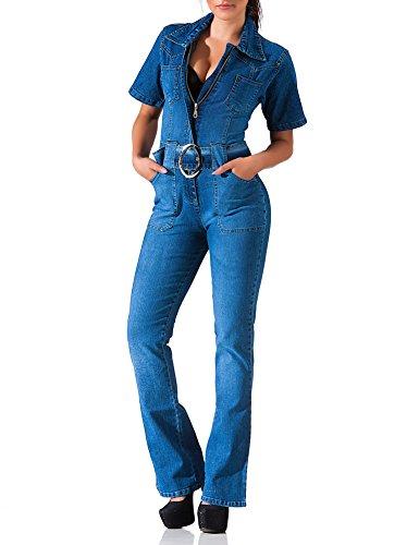 24brands Damen Jeans Overall mit Schlag Jumpsuit Sommer Boot Cut Einteiler kurzarm mit Gürtel – 3085