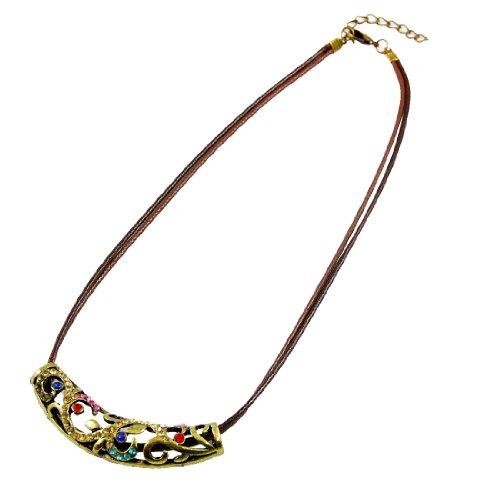 Rosallini Bronze Tone Metal Hollow Out Rhinestone Decor Pendant Necklace