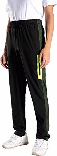 jeansian Uomo Asciugatura Rapida Sportivo Casuale Pantaloni Della Tuta Sports Sweatpants LSS168 BlackGreenYellow XL