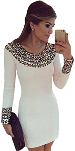 PEGGYNCO Womens Sexy Round Neck Long Sleeve Bodycon Studded Dress Size S