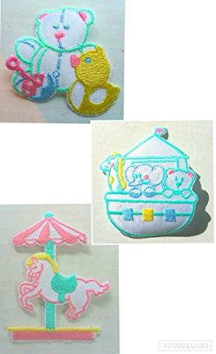 [3 pc Baby Patches Set~Patch Noah's Ark, Merry Go Round Carousel Horse, Teddy Bear w/ Duck Blue Pink Yellow Green Iron On Applique Toddler Child Infant] (Noahs Ark Baby Bear Costume)