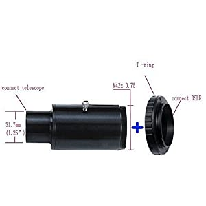 Solomark 1.25 Inch Telescope Camera Adapter with T-Ring Mount for Nikon to Take Photos (Color: Telescope Camera Adapter+Nikon)