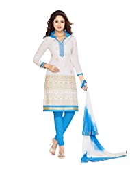 PShopee White & Sky Blue Cotton Reshim Embroidery Unstitched Dress Material