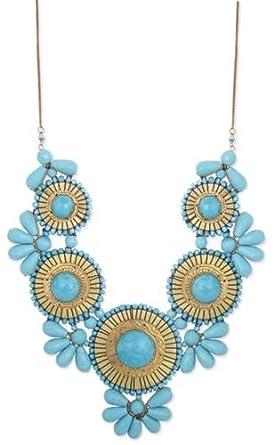 ZAD Beautiful XX-Large Gold Metal Turquoise Glass Bead Medallion Bib Necklace