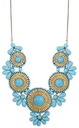 """Zad Turquoise Beaded Medallion Bib Necklace 24""""-26"""""""
