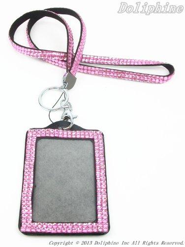 Multi Colors Rhinestone Crystal Bling Necklaces LANYARDs Keychain Key Holder & Vertical ID Badge Holder (Hot Pink) (Crystal Holder Necklace compare prices)