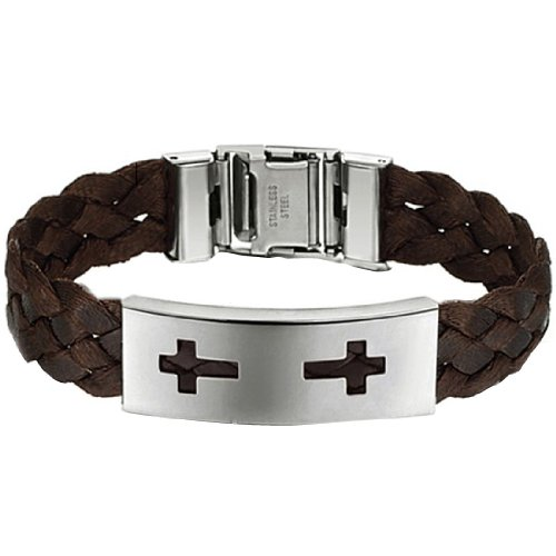 Huiyou Unisex Brown Braided Bracelet For Men And Women With Two Crosses On Stainless Steel Plate