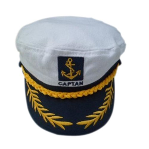 White Adult Yacht Boat Ship Sailor Captain Costume Hat Cap Navy Marine Admiral