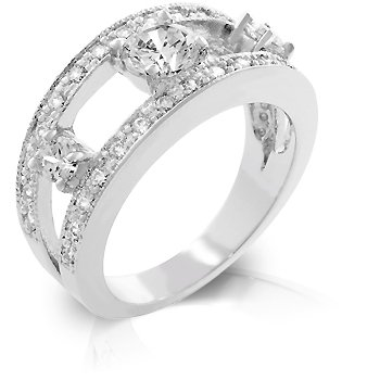 White Gold Rhodium Bonded Anniversary 3 Stone Ring with Pave CZ Trim in Silvertone