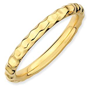 Sterling Silver Stackable Expressions Gold-plated Hammered Ring - Size N 1/2 - JewelryWeb