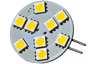 Cbconcept® 2Xledg4Sp9Smd-Ww Led Disc Type G4 Base Lamp Side Pin With 9 High Power 5050Smd Leds, 12Volt-24Volt, Jc G4 Bi-Pin Bulb Replacement For Rv Camper Trailer Boat Marine,2 Watt 115 Lumen - Warm White Color (3000K) - 2 Bulbs