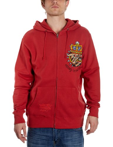 Ed Hardy Basic King of Beast Hoodie Men's Sweatshirt Red X-Large