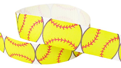 "Buy HipGirl 5yd 7/8"" Softball Grosgrain Ribbon--White/Lemon"