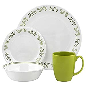 Corelle Contours Neo Leaf 16-Piece Dinnerware Set, Service for 4