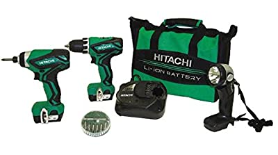 Hitachi KC10DFL2 12-Volt Peak Lithium Ion Driver Drill and Impact Driver Combo Kit (Includes 2 Batteries and Flashlight)