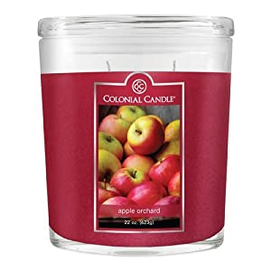 Colonial Candle 22-Ounce Scented Oval Jar Candle, Apple Orchard (Pack of 2)