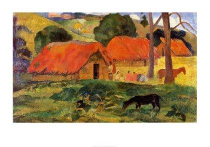 village-in-tahiti-by-paul-gauguin-34x24