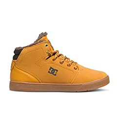 DC Crisis High Want Youth Shoes Sherpa Lined Hi Top Skate Shoe (Little Kid/Big Kid), Wheat/Dark Chocolate, 1 M US Little Kid