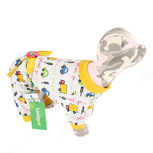 LovinPet One Piece Small Dog Pajamas | Puppy PJs w/ Snap Buttons & Bow Detail for Toy Breed Dogs | Comfortable 100% Cotton Dog Shirt Onesie Jumpsuit (Yellow Flower, XL Size) (Dog Jumpsuit Winter With Feet compare prices)