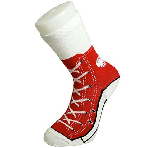 Blu Silly Socks - Calzini rossi, motivo sneaker, taglie dalla 38 alla 46