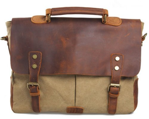 VOCHIC Retro Leather Canvas School College Messenger Briefcase Satchel Handbag iPad Bag