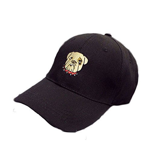 Nanxson(TM) women/girls Cartoon Dog Patched baseball sunhat cap Solid Color MZW0060 (black) (Cartoon Pirate Hat)