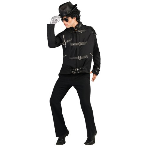 Deluxe Michael Jackson Jacket Adult Costume Bad Jacket (Black w/ Buckles) - Medium