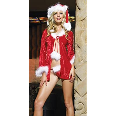 Sexy Costumes: Hot Babes in Sexy Mrs Santa Claus Costume Includes Jacket, Thong, And Hat