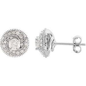 IceCarats Designer Jewelry 14K White Gold 3/4 Ctw Diamond Earrings. 3/4 Ct Tw/ Pair