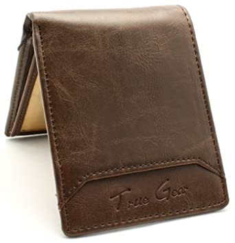 True Gear Men's Leather Bi-Fold Wallet (Brown with Brown Stitch)