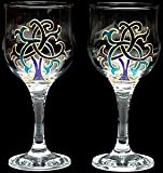 Pair of Wine Glasses in a Blue Celtic Tree of Life Design. Handpainted and designed in the UK by Beverley Gallagher, these significant and expressive gifts are ideal for Christmas, Valentine's Day, Mother's Day, St Patrick's Day, Easter, Father's Day, bi